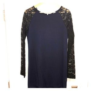 H&M Navy Dress wiry Black Lace Sleeves